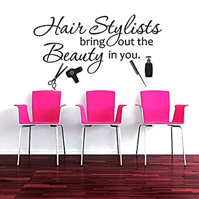 ¡®Hairstylists Bring Out The Beauty In You -Hairdresser Comb Scissors Colorist Booth Decor Beauty Decor Beauty Shop Decal Stylist Wall Graphics