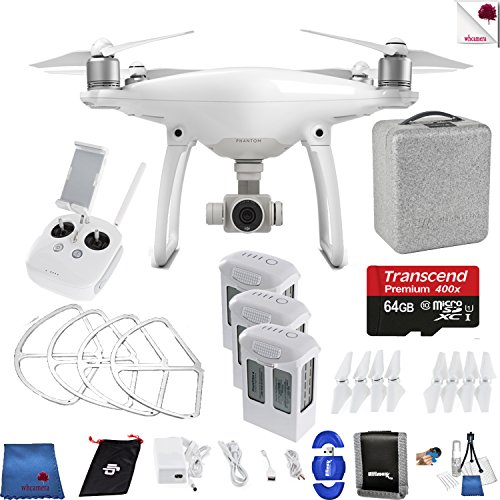 DJI Phantom 4 Ready For Flight Bundle Includes: DJI Phantom 4 Drone + 3 Batteries (total) + 64 GB Memory Card + Controller + Foam Case + More