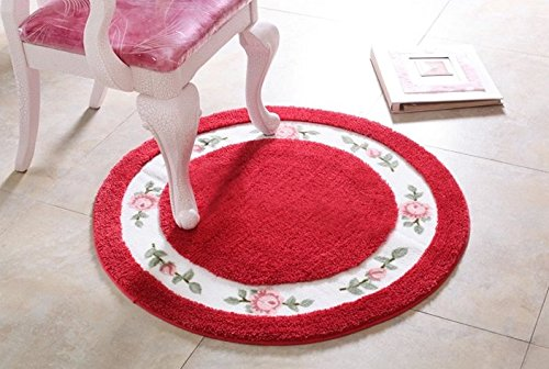 Sytian® 27.55*27.55 Inch Decorative Ultra Soft Floral Rural Style Beautiful Rose Flower Rug Non Slip Absorbent Shaggy Area Rug Bedroom Living Room Carpet Chair Cushion Pretty Floormat Bath Mat Bathroom Shower Rugs (Red)