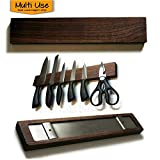 Magnetic Walnut Wood Knife Holder for Knives & Kitchen Tools, 14 inch