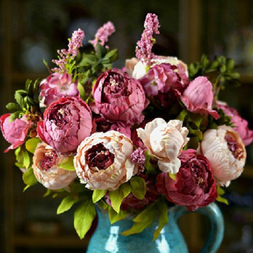 1 Bouquet Decoration Artificial Bridal Peony Silk Flowers Fake Leaf for Home Wedding Party Home Decor Craft Tables Office Coffee Shop Garden Plants NO Vase (Dark Pink)