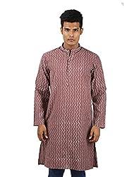Ethnic Cotton Shirt Marsala Traditional Kurta Hand Block Printed 3XL Long shirt Zig-Zag Men's kurta By Rajrang