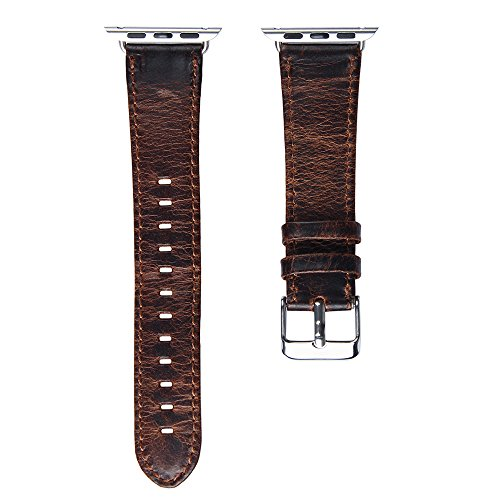 V-Moro Apple Watch leather Band, 42mm Genuine Leather iWatch Strap Vintage Crazy Horse Replacement Smart Watch wristband for for Apple Watch iWatch All Models (Vintage Crazy Horse-Coffee 42mm) 6