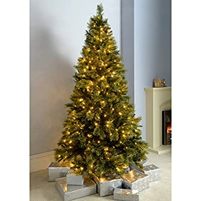WeRChristmas Shimmering Champagne Pre-Lit Christmas Tree Warm White LED Lights and Easy Build Hinged Branches