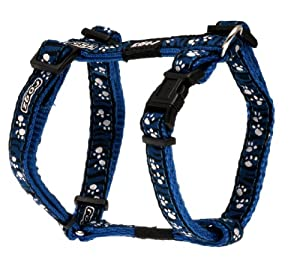 Rogz Fancy Dress Small 3/8-Inch Jellybean Adjustable Dog H-Harness, Zebra Paws on Blue Design