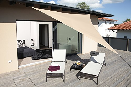Windhager 10888 - Vela de sombra para patio, triangular 3.6 m, color caqui