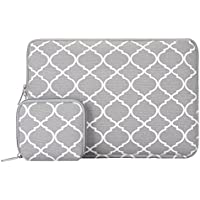 Mosiso Quatrefoil Style Canvas Fabric Laptop Sleeve Bag Cover for 13-13.3 Inch MacBook Pro