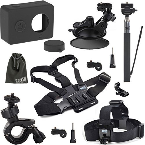 EEEKit Starter Kit for Xiaomi Yi Sports Cam Action Camera, Silicone Case + Chest Mount Harness + Head Strap Mount + Extension Selfie Pole Mount Black + Car Suction Cup Mount + Bike Handlebar Mount + EEEKit Pouch