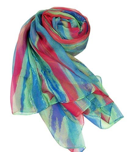 Ghope Damen Strandtuch Schal Pareo Sarong Wrap Shawl Regenbogen-Streifen 140*200cm Grün