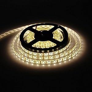 E-Goal 16.4FT 5M SMD 3528 Non Waterproof Double Density 600LEDs Warm White LED Flash Strip Light ,LED Flexible Ribbon Lighting Strip,12V from E-Goal