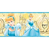 Imperial Disney Home DF059162B Cinderella Princess Border, Pastel Yellow, 9-Inch Wide