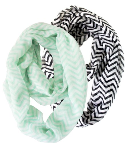 2 Pack of Soft Light Weight Zig Zag Chevron Sheer Infinity Scarf (Mint/White and Black/White)