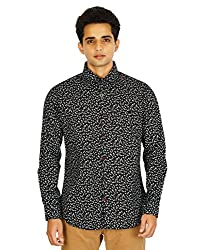 Montise Small White Flowers Black Cotton Men's Shirt