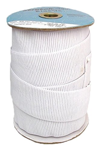 Stretchrite 2 by 15-Yard White Ribbed Non-Roll Woven Polyester Elastic Spool