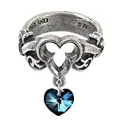 The Dogaressa's Last Love Blue Crystal Heart Ring by Alchemy Gothic