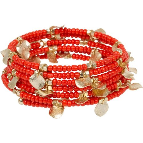 Heirloom Finds Coral Beaded Coil Ethnic Bracelet