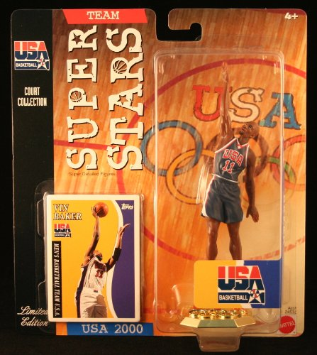VIN BAKER * 2000 OLYMPICS MEN'S BASKETBALL TEAM U.S.A. * NBA Team Super Stars Limited Edition Figure, USA Display Base & Exclusive Topps Collector Trading Card