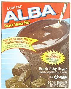 Alba Low Fat Snack Shake Mix Double Fudge Royale, 8-Count, 6-Ounce Box (Pack of 3)
