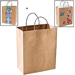 "Craft Gift Bags ~ Brown Paper 1 dozen - 10"" x 5"" x 13"""