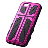 Product B00NPOEIOW - Product title MyBat Cross Hybrid Protector Cover for  iPhone 6 - Retail Packaging - Metallic Hot Pink/Black