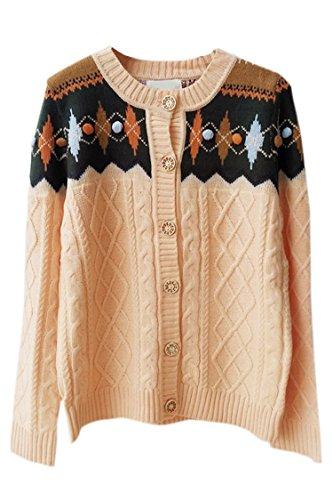 Pink Wind Womens Korean Style Round Neck Braided Pattern Cashmere Sweaters