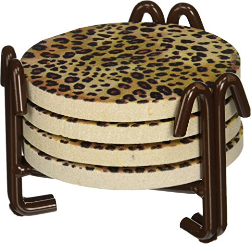 Thirstystone Drink Coasters Set with Metal Holder, Leopard Print