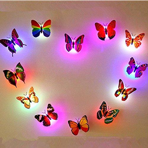 Aliciashouse 6pcs couleurs changeantes LED clignotant papillon Night Light lumières décoratives Stickers 3D Home Decor