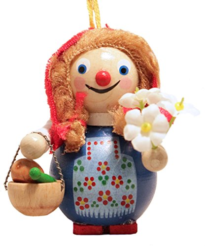 Steinbach Little Red Riding Hood with Flowers German Wooden Christmas Ornament