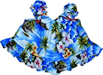 Pacific Legend Girls Diamond Head Ocean Wave Puff Sleeve 2pc Set Blue 12 months