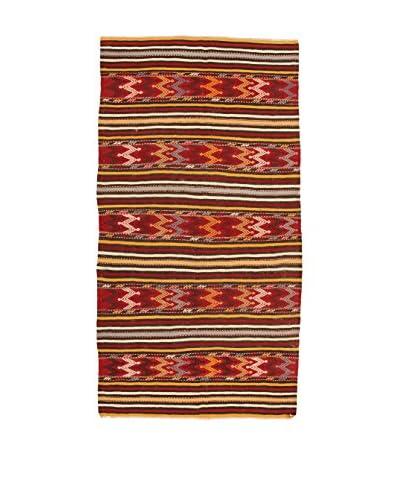 Design By Gemeenschap Loomier tapijt Kelim Caucasico donkerrood / multicolor 140 cm x 264