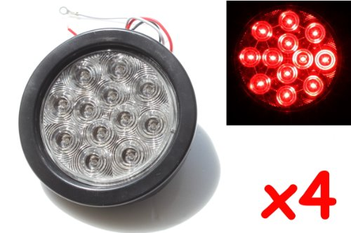 "4 Red 4"" Round Led Brake/Stop/Turn/Tail Light Kit With Grommet Plug Clear Lens Kl-25108C-Rk"