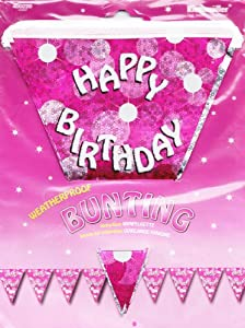 "Pink Plastic Pennant Banner / Bunting Holographic ""Happy Birthday"" Approx 13ft X 8inch"