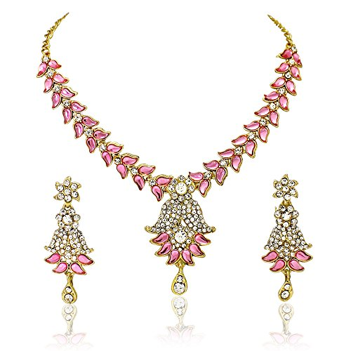 Atasi-International-Pink-Metal-Choker-Necklace-Earrings-Set-For-WomenGirls