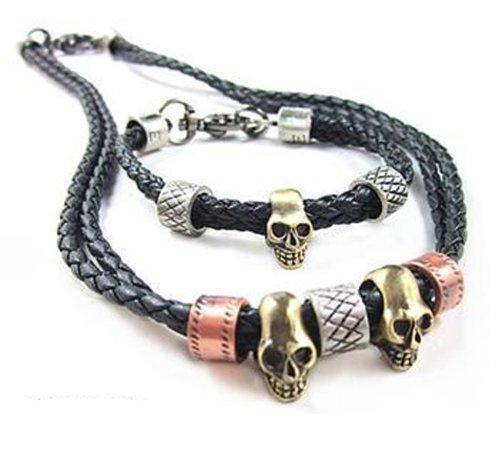 Fashionista Gorgeous Genuine Leather Black Necklace/Chain/Choker and Bracelet Set with Brass Skull Accessory Men's Women's Unisex Jewellery