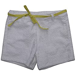 Buttercups Girls' 7 years Cotton Flat Front Shorts (CLC01SH, White, 27 inches)