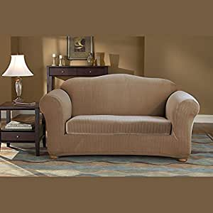 Stretch Pinstripe Two Piece Sofa Slipcover Color: Taupe