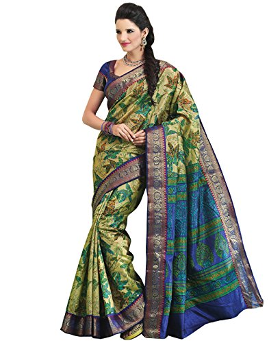 Roopkala Silks & Sarees Raw Silk Zari Saree (Bp-120 _Green)