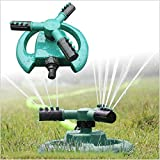 Generic Green : 360 Degree Fully Rotating Water Sprinkler 3 Nozzles Garden Pipe Hose Irrigation Spray Grass Lawn...