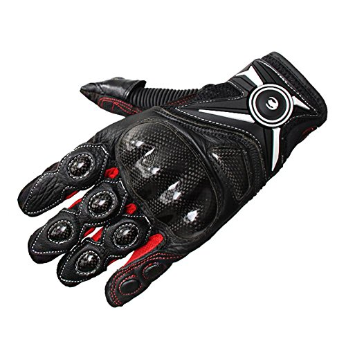 Riding Gloves Leather Carbon Fiber Protective Shatter-Resistant Touch Screen , red , m