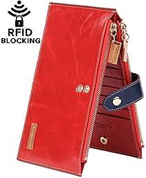 Borgasets RFID Blocking Women\'s Genuine Leather Zipper Wallet Card Case Purse Red