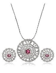 Eclat Rhodium Brass Pendant Set For Women New Fashion Jewelry (1112206RR)