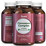 Complex Cinnamon Capsules - Vitamin For Weight Loss + Best Blood Sugar Support - 100% Pure For Men & Women - Antioxidant + Natural Essential Oils - Anti Inflammatory Supplement - 400mg - By Tevare