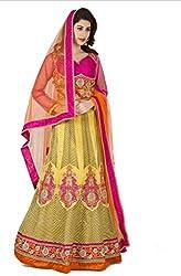 Navyata Women's Silk Semi-Stitched Lehenga Choli (1715 B_Yellow_Free Size)