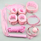 Secret Under Bed System---Easy fashion Pink Bondage Kit Leather Restraint Bedroom Fun 7pcs Adult Set