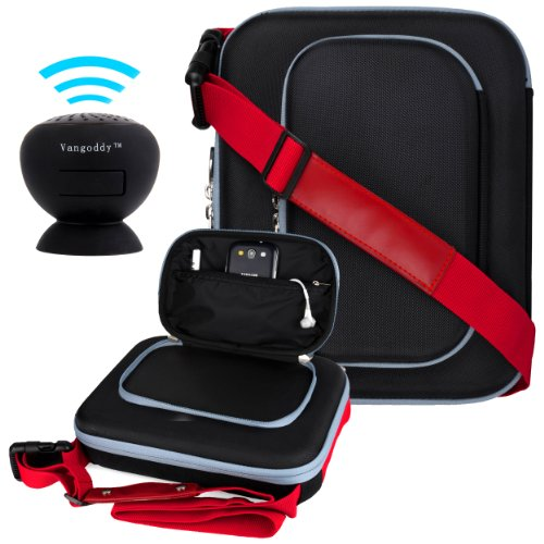Vangoddy Tough Cube - Red Black Messenger Cover Bag Case For Acer Iconia A3 / W510 / A210 / A200 + Black Mini Suction Bluetooth Speaker W/ Microphone