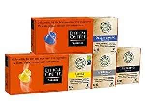 Get 40 Nespresso BIODEGRADABLE compatible Capsules Basic Pack | Espresso/Lungo/Ristretto/Decaf Supreme Pack by Ethical Coffee by Ethical Coffee