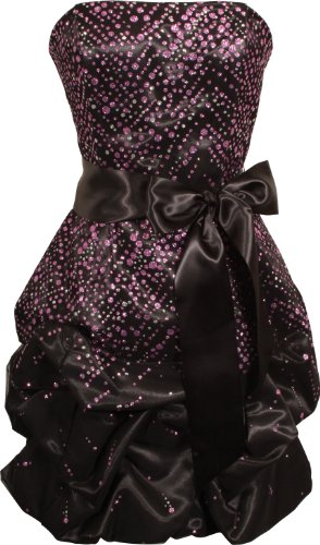 Sparkle Glitter Tulle and Satin Strapless Bubble Dress Junior Plus Size, Medium, Black