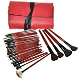 30pcs Professional Makeup Brushes Set with Roll up Red Bag