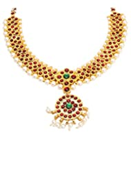 Multiline Company One Gram Gold Plated Dance Temple Jewellery Kempu Stone Necklace For Women & Girls
