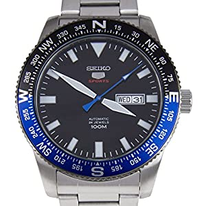 Seiko 5 Sports Automatic Black Dial Stainless Steel 100M Mens Watch SRP659